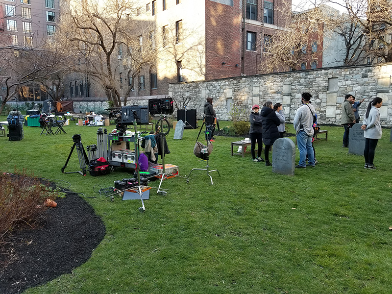 Movie set with fake tombstones